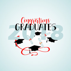 vector illustration on blue background congratulations on graduation 2018, design for the graduation party
