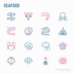 Seafood thin line icons set: lobster, fish, shrimp, octopus, oyster, eel, seaweed, crab, ramp, turtle. Modern vector illustration for restaurant menu.