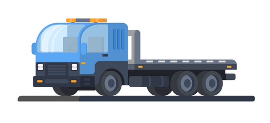 The machine for transportation of faulty vehicles. Wrecker car. Lorry with platform. Road service and help.