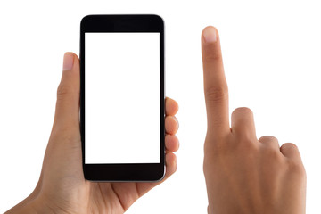 Close-up Of Person's Finger And Mobile Phone
