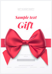 Beautiful greeting card with red bow on white background. Valentine's day card