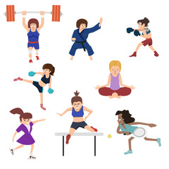 women doing sport vector cartoon set