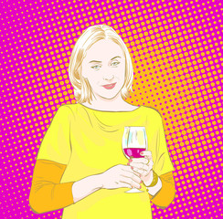 Party girl. Woman holds glass of wine. Woman drinking. Time relax.