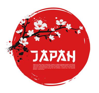 Sakura on red background