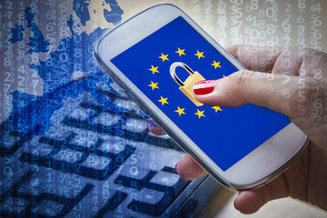 Padlock and EU flag on smartphone screen, GDPR metaphor