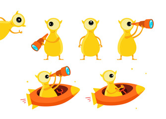 One-eyed yellow alien character set. With telescope search. On rocket starfish. Flat color vector illustration stock clipart