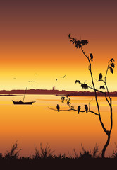 Nature background with river and tree. Birds sitting on tree, Colorful sunset, Mobile wallpaper - Vector illustration