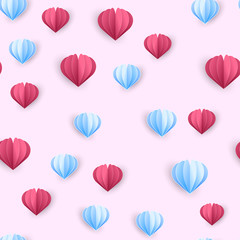 Seamless pattern with red and blue paper hearts on pink background. Vector
