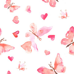 Seamless pattern of watercolor pink butterflies with little hearts