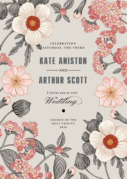 Wedding marriage invitation. Beautiful flowers. Vintage card. Frame. Drawing engraving. Chamomile heliotrope wildflowers isolated floral. Wallpaper Prímula, Hibiscus. Vector victorian Illustration.
