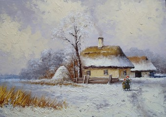 Oil paintings landscape, winter, village, fine art
