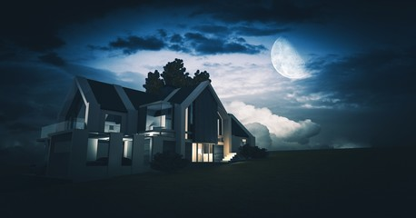 House Concept 3D at Night
