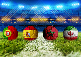 3D rendering Football Russia 2018. group B, Portugal, Spain, Morocco, Iran