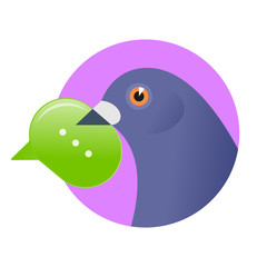 Post pigeon with sms in the beak. Flat vector illustration of a homing-pigeon carring new message in the speech bubble. Digital technologies, e-mail, bird, online chating, modern communication concept