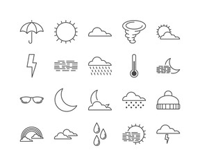Weather thin line icons, forecast vector illustration