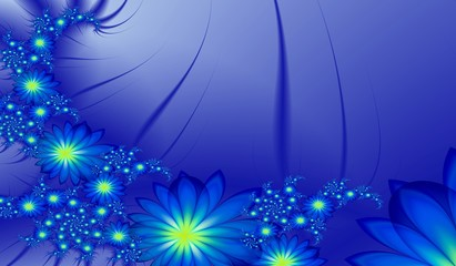 Fractal image, beautiful template for inserting text,  in color   blue. Background with flower... Floral template with place for text. .. Graphic design for business cards and like.....
