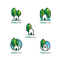 House & Tree Icon Set For Eco Green House Logo