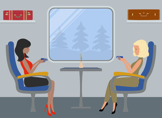 Passengers in the train car. Young women are sitting in blue armchairs and  drink coffee on a window background. Interior of the train. There are suitcases on the shelves in the picture. Vector