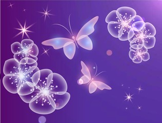 Glowing purple background with magic butterflies and light flowers.Transparent butterflies and glowing blooms.