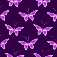 Glowing background with magic  butterflies. Shiny butterflies on background. Glowing image on dark purple background.
