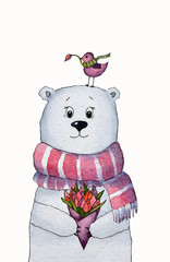 Bear with a bouquet of tulips