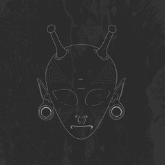 vector sketch the face of an alien with horns and piercings. the face is covered with a geometric pattern tattoo. grunge texture. t-shirt design, poster and other