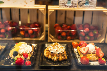Waffle in a candy store in Bruges, Belgium