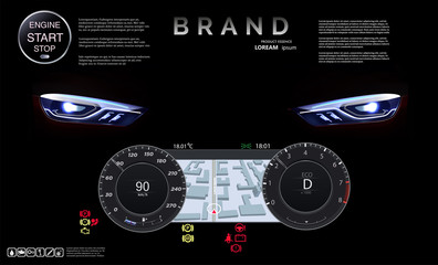 Speedometer with navigation against the background of headlights