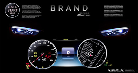 Speedometer against the background of automobile headlights