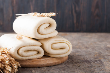 Puff pastry dough.