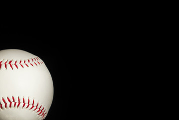 Classic Baseball on a Black Background with Copy Space