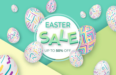 Easter background with 3d ornate eggs on green with circle frame. Cute vector easter banner or greeting card