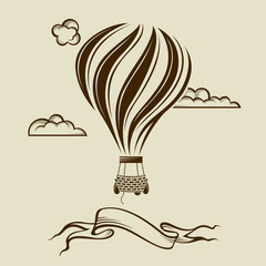 vintage hot air balloon image with clouds