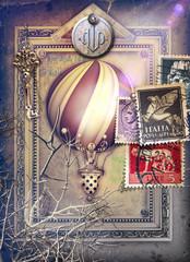 Sfondo con cornice surreale,francobolli e mongolfiera