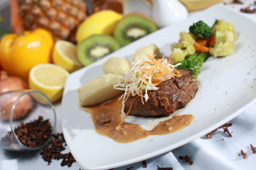 beef steak roasted and grilled