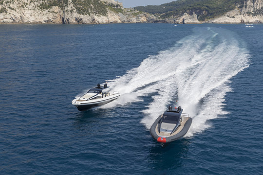 two motor boat in navigation, ribs inflatable