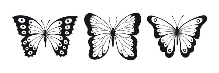 set of butterfly sillhouettes