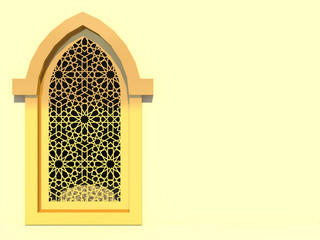 Islamic interior design of the mosque. Islamic window with traditional pattern. Background greeting cards Ramadan Kareem. 3D rendering.