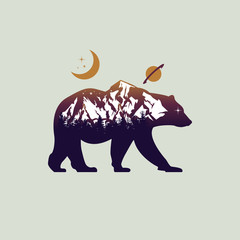 bear and mountain landscape double exposure
