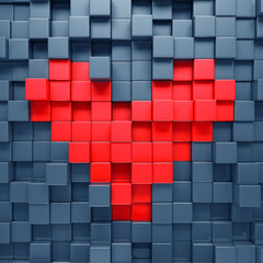 Red heart blocks background - 3d render