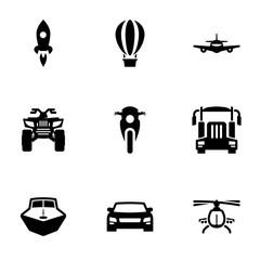 Set of black icons isolated on white background, on theme Transport