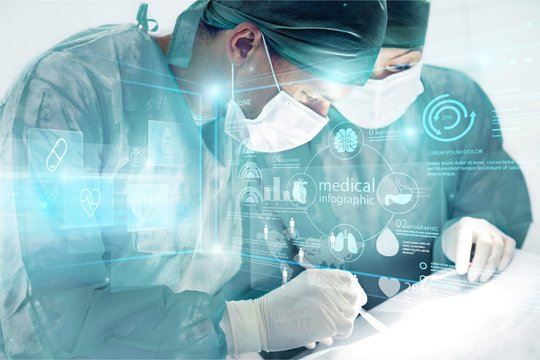 Two surgeons with medical illustration