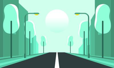 Road through green city