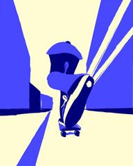 Skater on longboard in city