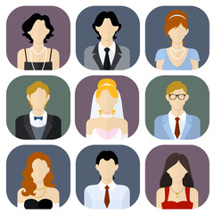 Different people in bridal and formal wear icons set in flat style.