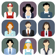 Different people, work team icons set in flat style.