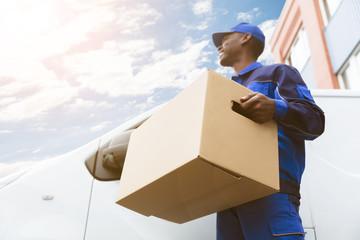 Loader Man With Cardboard Box