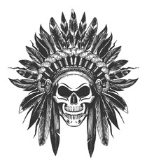 Native American Indian skull in War Headdress