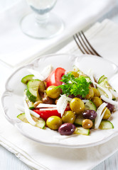 Marinated Olives with Tomatoes and Cucumber