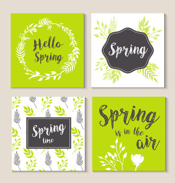 Hello spring, spring is in the air, spring cards, wreath, watercolor